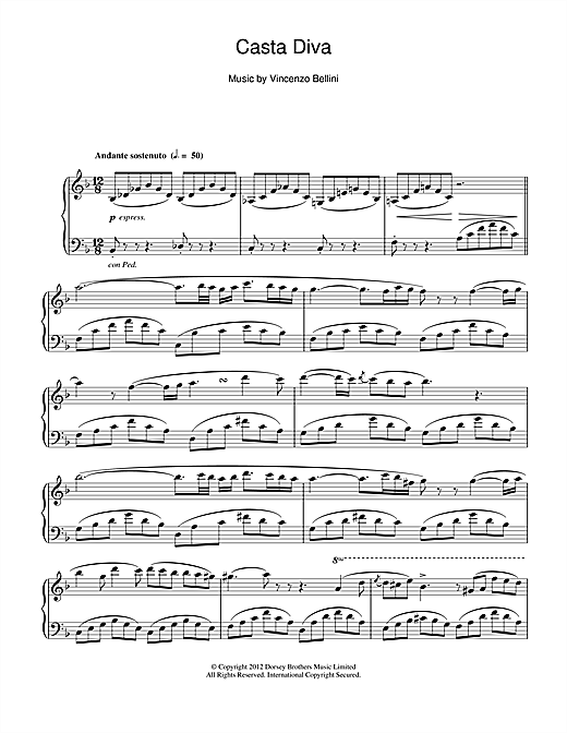 Vincenzo Bellini Casta Diva sheet music notes and chords