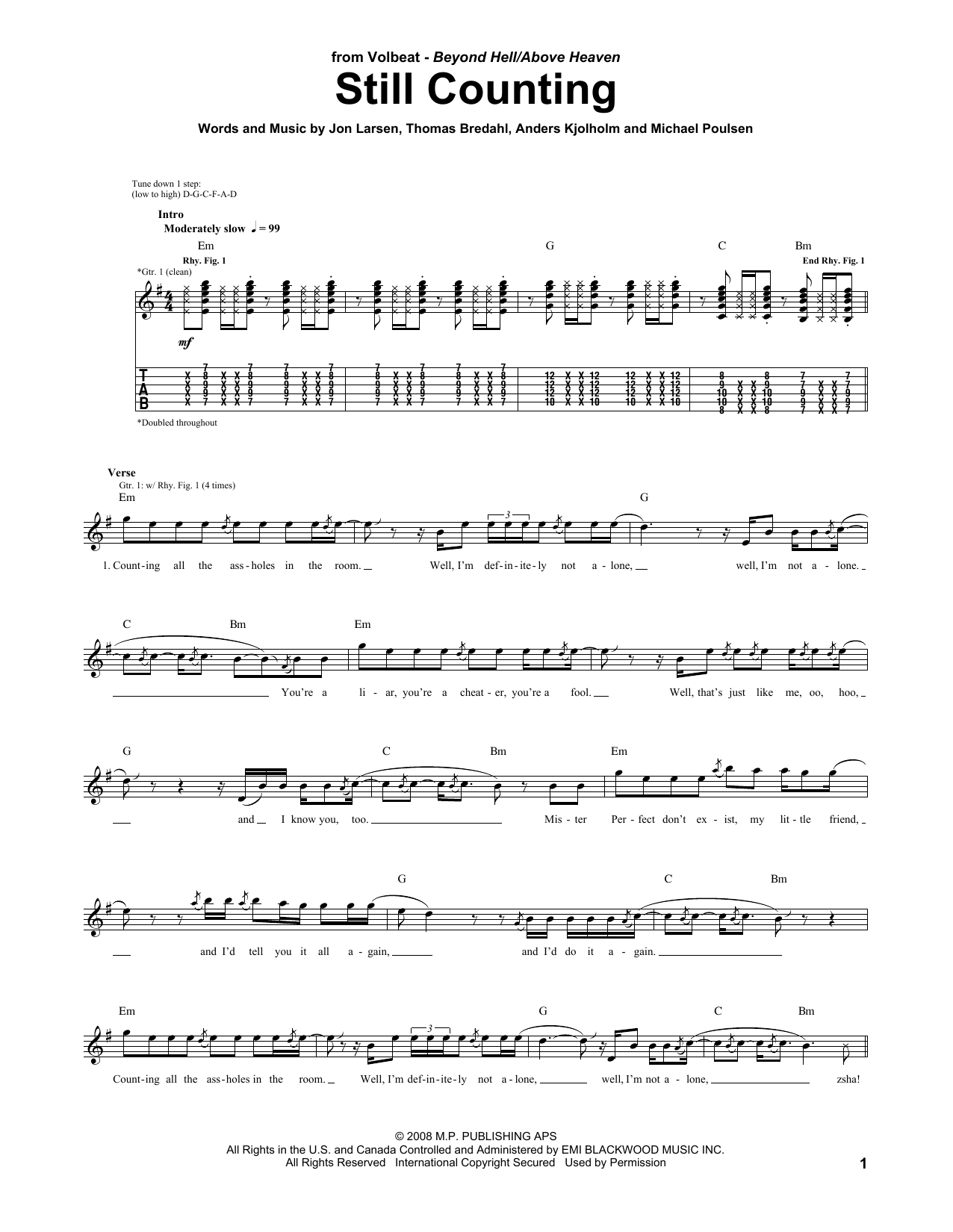 Volbeat Still Counting sheet music preview music notes and score for Guitar Tab including 6 page(s)