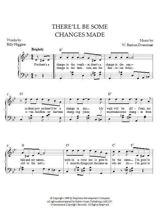 W. Benton Overstreet There'll Be Some Changes Made sheet music notes and chords