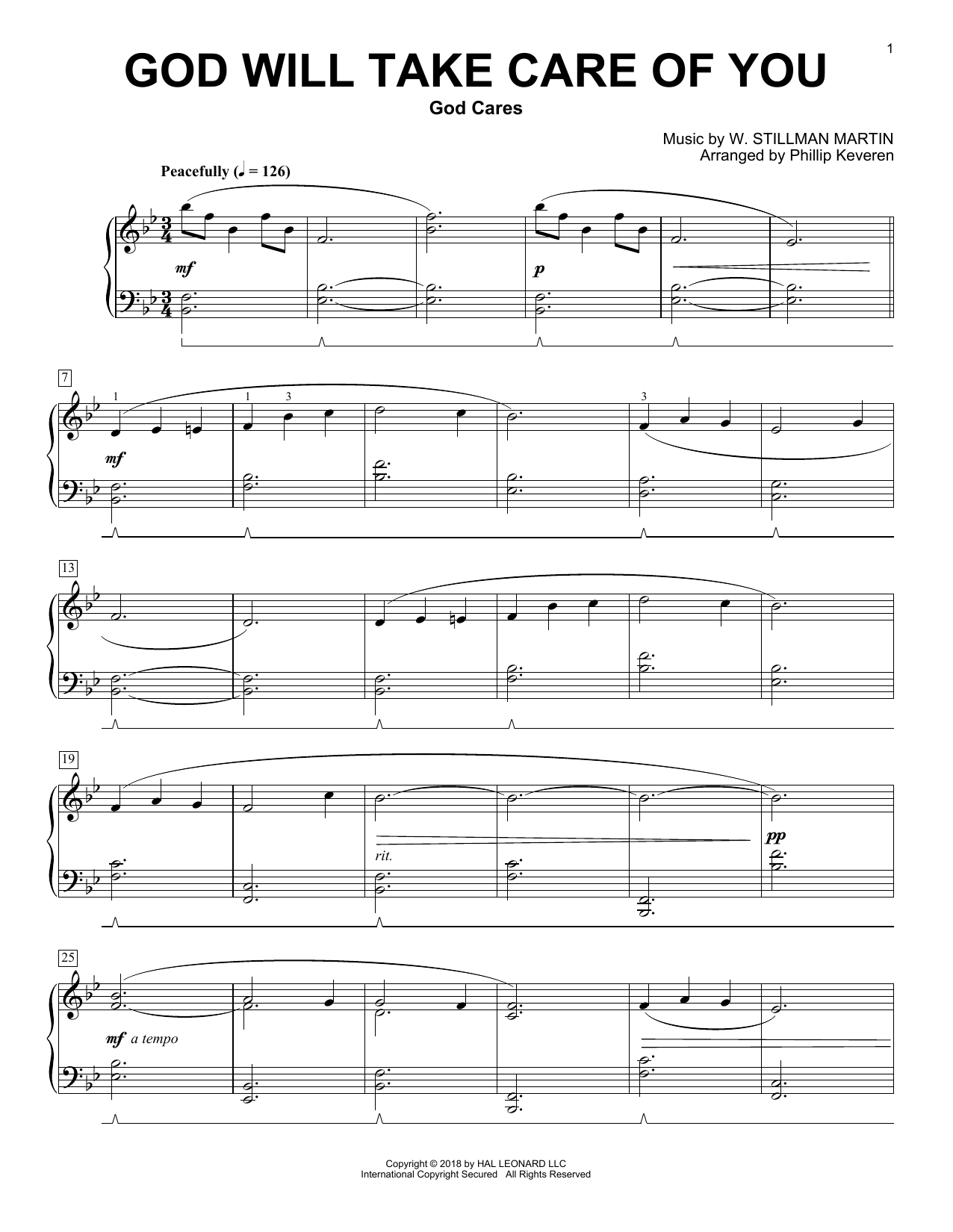 Download W. Stillman Martin 'God Will Take Care Of You (arr. Phillip Keveren)' Digital Sheet Music Notes & Chords and start playing in minutes
