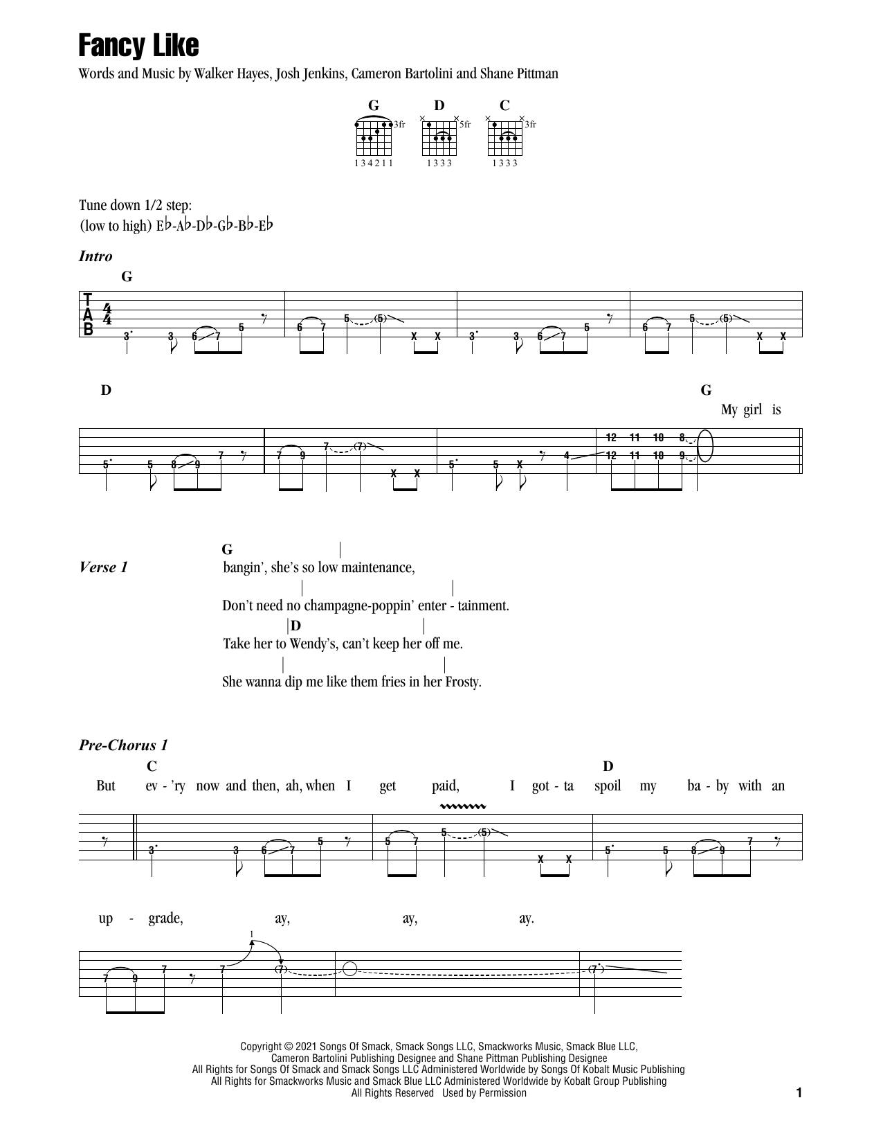 Walker Hayes Fancy Like sheet music preview music notes and score for Piano, Vocal & Guitar (Right-Hand Melody) including 5 page(s)