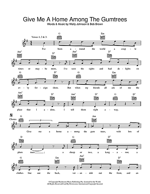 Wally Johnson Give Me A Home Among The Gumtrees sheet music preview music notes and score for Melody Line, Lyrics & Chords including 2 page(s)