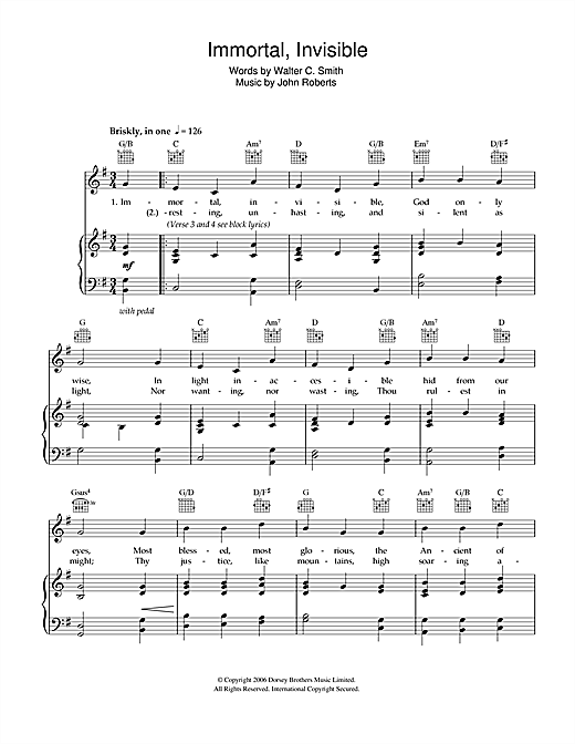 Download Walter Chalmers Smith 'Immortal, Invisible' Digital Sheet Music Notes & Chords and start playing in minutes
