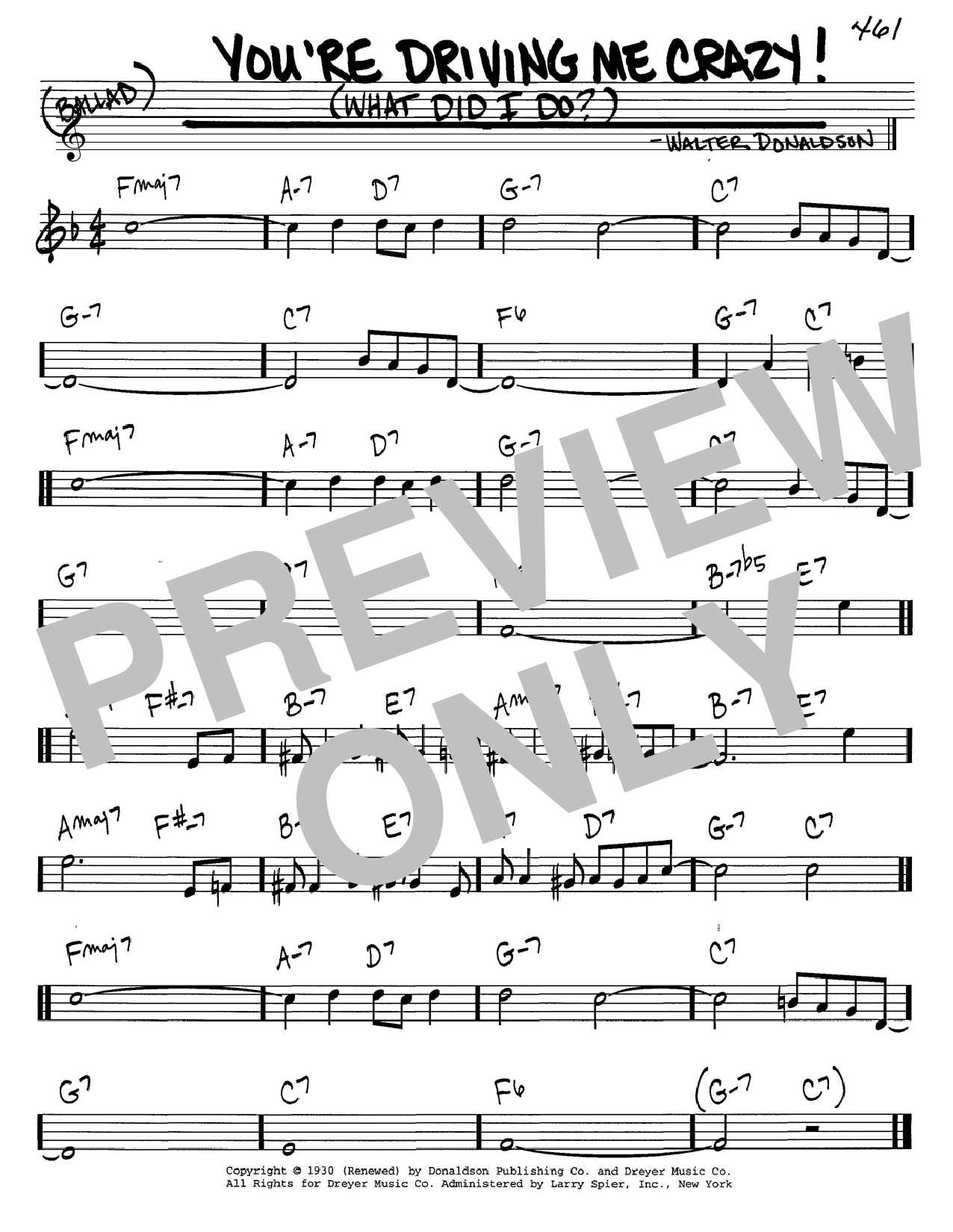 Walter Donaldson You're Driving Me Crazy! (What Did I Do?) sheet music notes and chords
