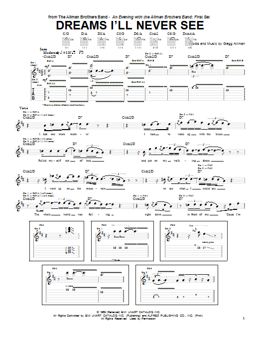 Warren Haynes Dreams I'll Never See sheet music preview music notes and score for Guitar Tab including 19 page(s)