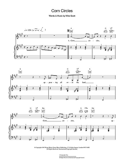 Waterboys Corn Circles sheet music notes and chords