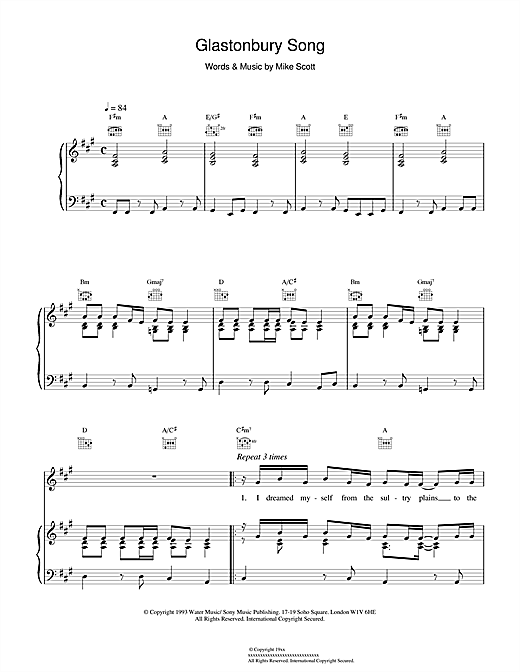 Waterboys Glastonbury Song sheet music notes and chords