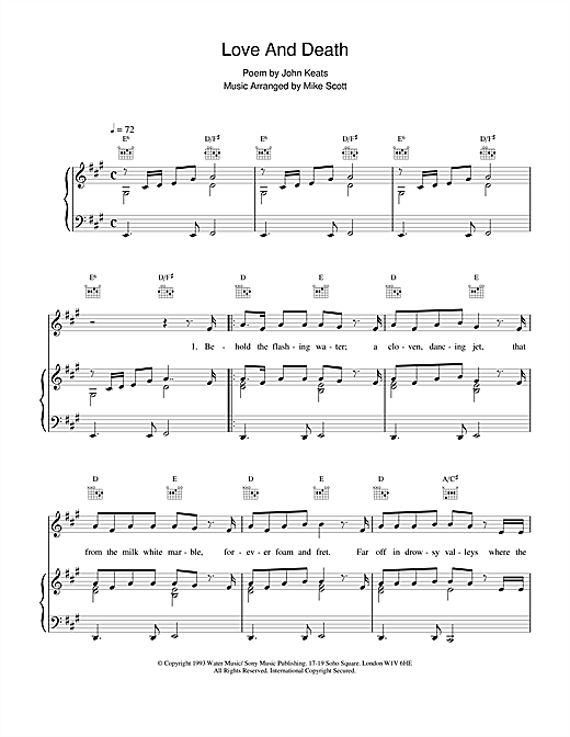 Waterboys Love And Death sheet music notes and chords