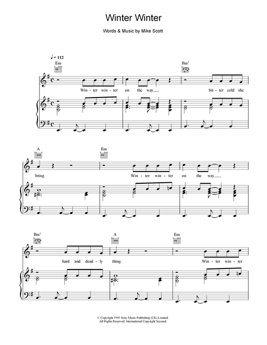 Waterboys Winter Winter sheet music notes and chords