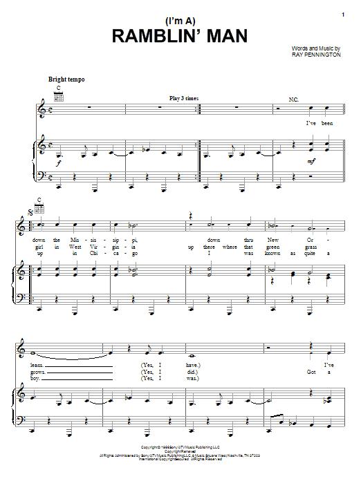 Waylon Jennings (I'm A) Ramblin' Man sheet music notes and chords