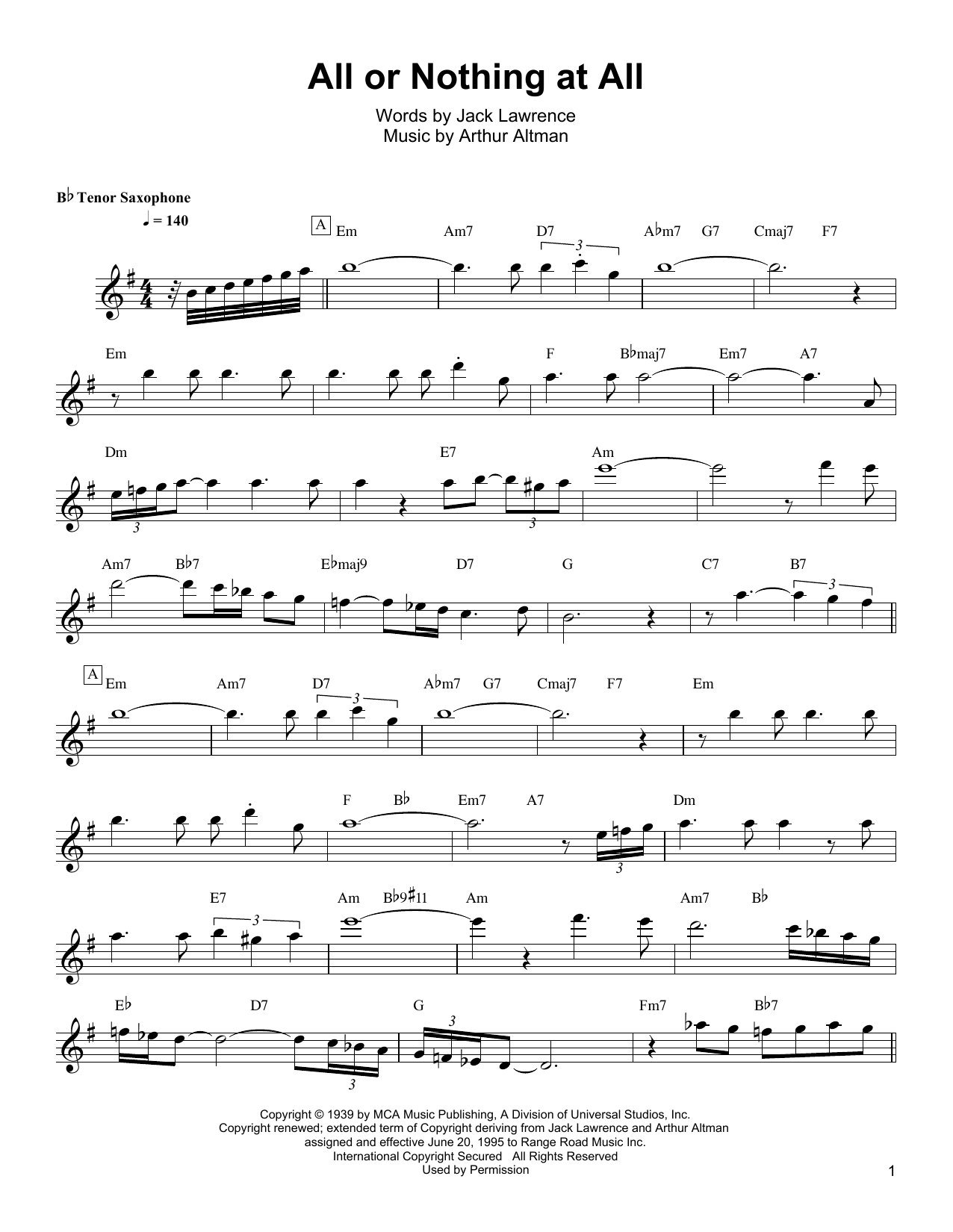 Download Wayne Shorter 'All Or Nothing At All' Digital Sheet Music Notes & Chords and start playing in minutes