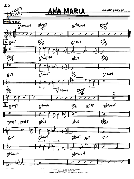 Download Wayne Shorter 'Ana Maria' Digital Sheet Music Notes & Chords and start playing in minutes