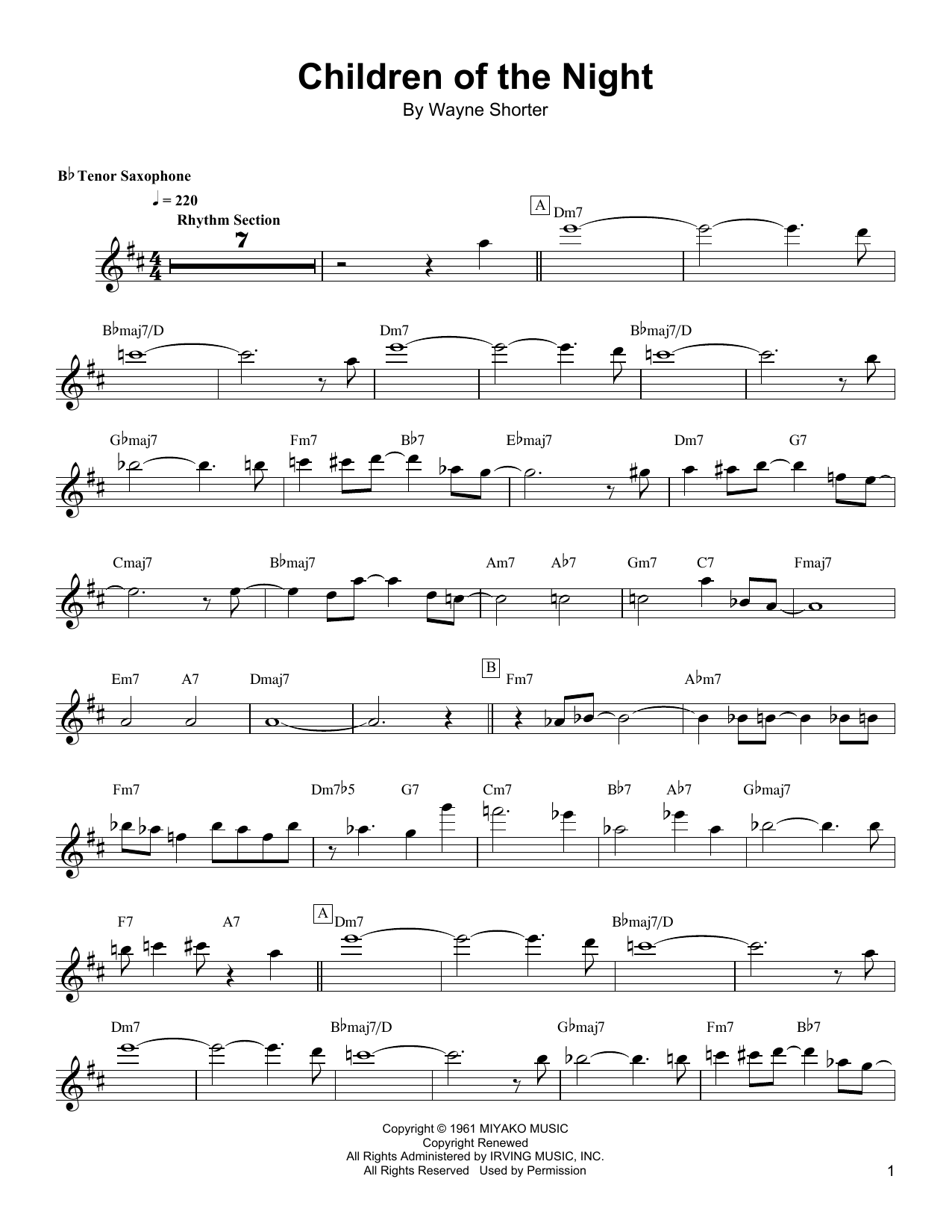 Download Wayne Shorter 'Children Of The Night' Digital Sheet Music Notes & Chords and start playing in minutes