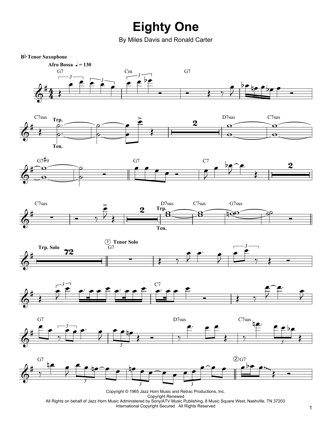 Download Wayne Shorter 'Eighty One' Digital Sheet Music Notes & Chords and start playing in minutes