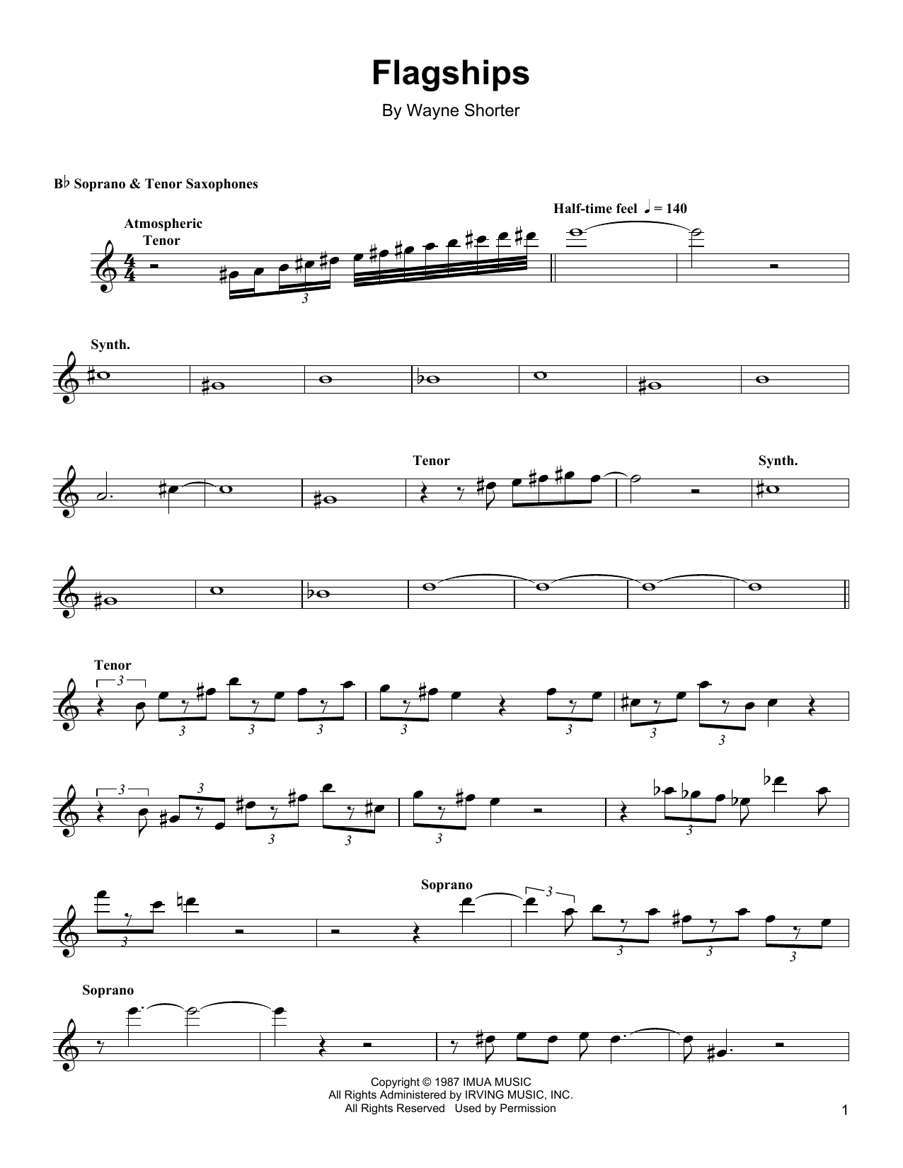 Download Wayne Shorter 'Flagships' Digital Sheet Music Notes & Chords and start playing in minutes