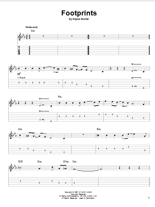 Wayne Shorter Footprints sheet music preview music notes and score for Guitar Tab including 9 page(s)