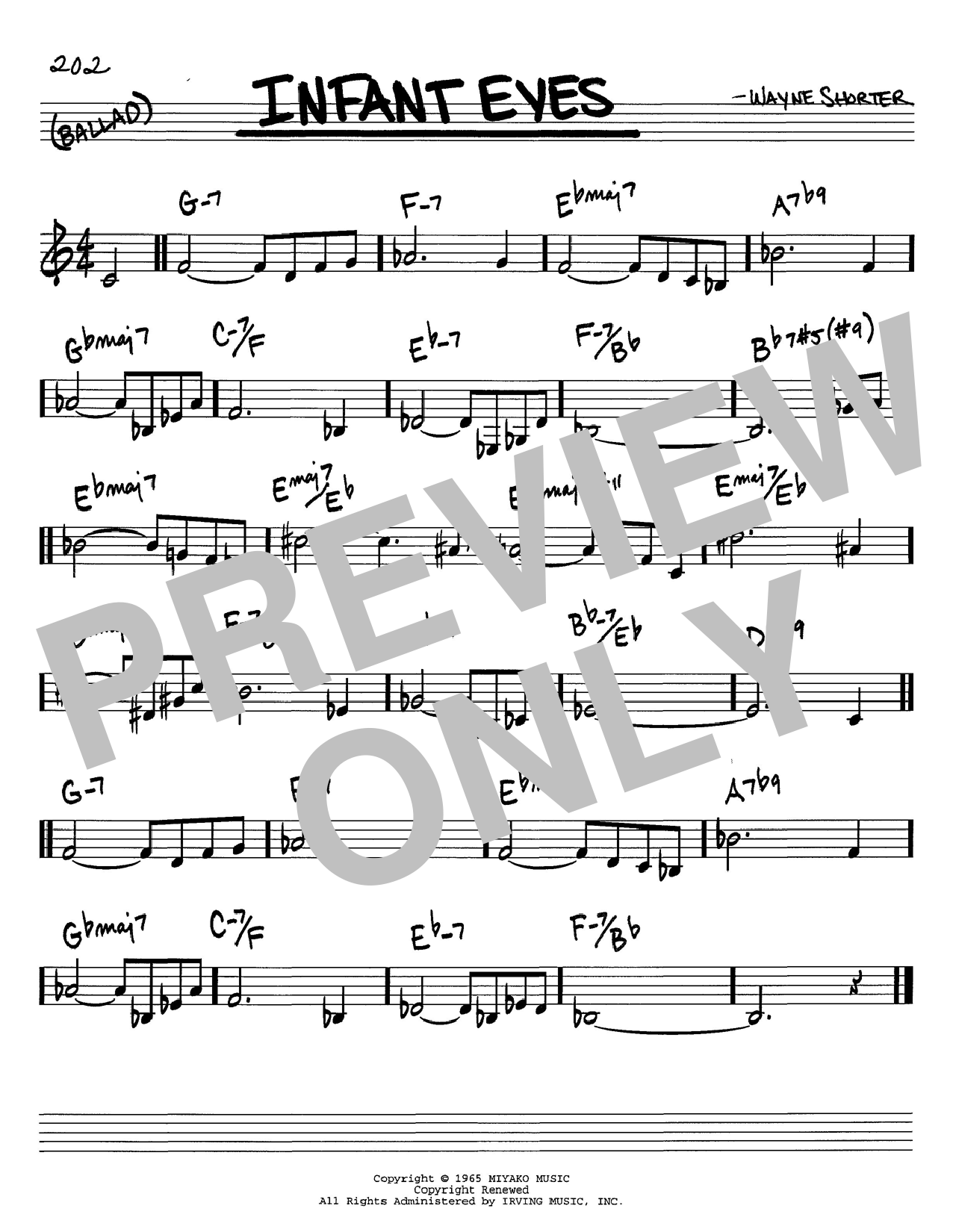 Download Wayne Shorter 'Infant Eyes' Digital Sheet Music Notes & Chords and start playing in minutes