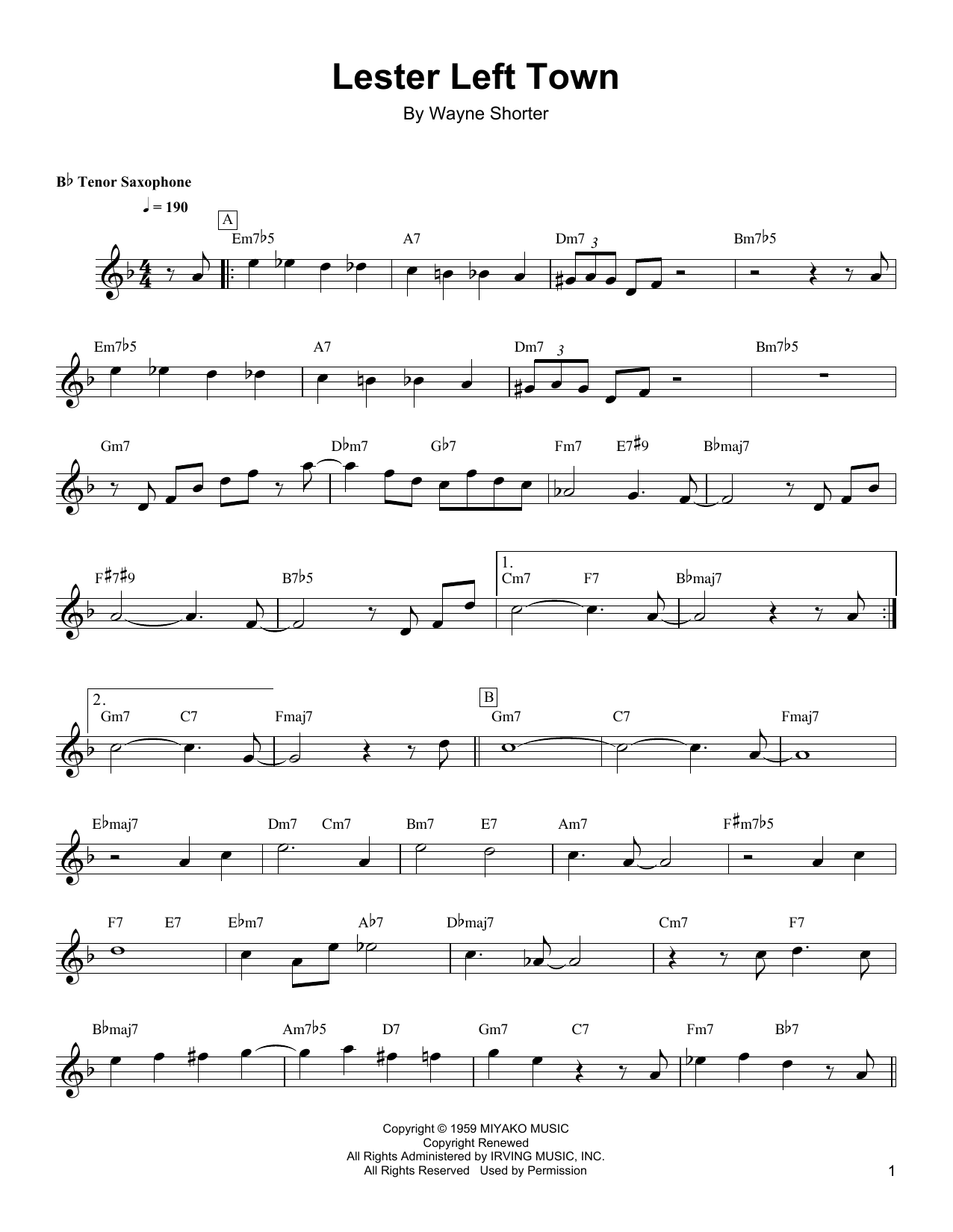 Download Wayne Shorter 'Lester Left Town' Digital Sheet Music Notes & Chords and start playing in minutes