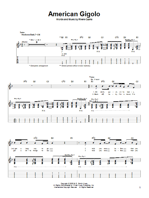 Weezer American Gigolo sheet music preview music notes and score for Guitar Tab including 4 page(s)