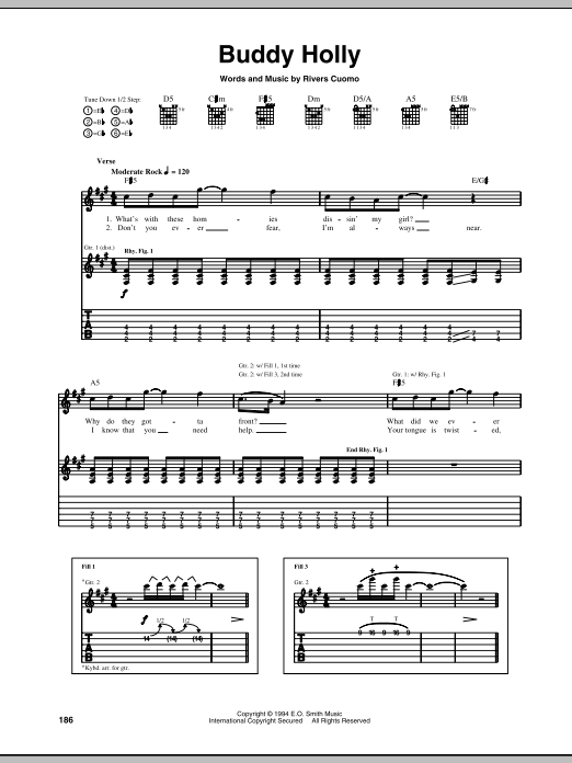 Weezer Buddy Holly sheet music preview music notes and score for Piano, Vocal & Guitar (Right-Hand Melody) including 7 page(s)