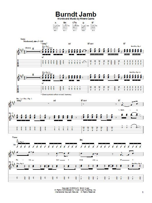 Weezer Burndt Jamb sheet music notes and chords