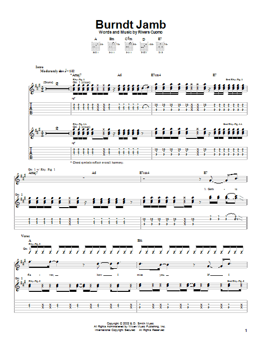 Weezer Burndt Jamb sheet music preview music notes and score for Guitar Tab including 5 page(s)