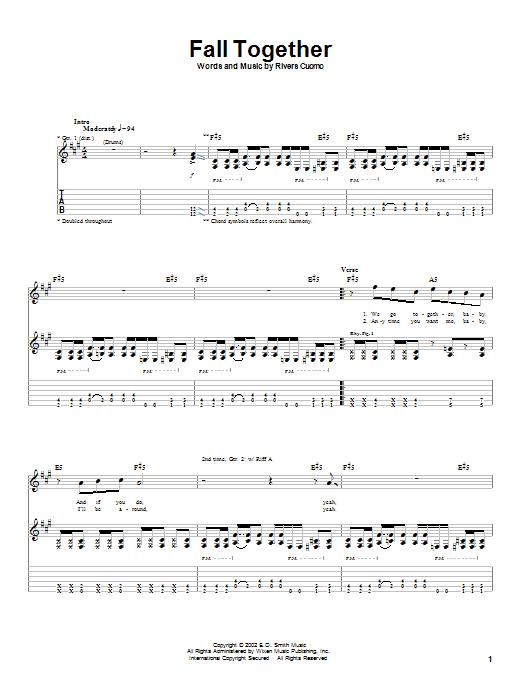 Weezer Fall Together sheet music preview music notes and score for Guitar Tab including 4 page(s)