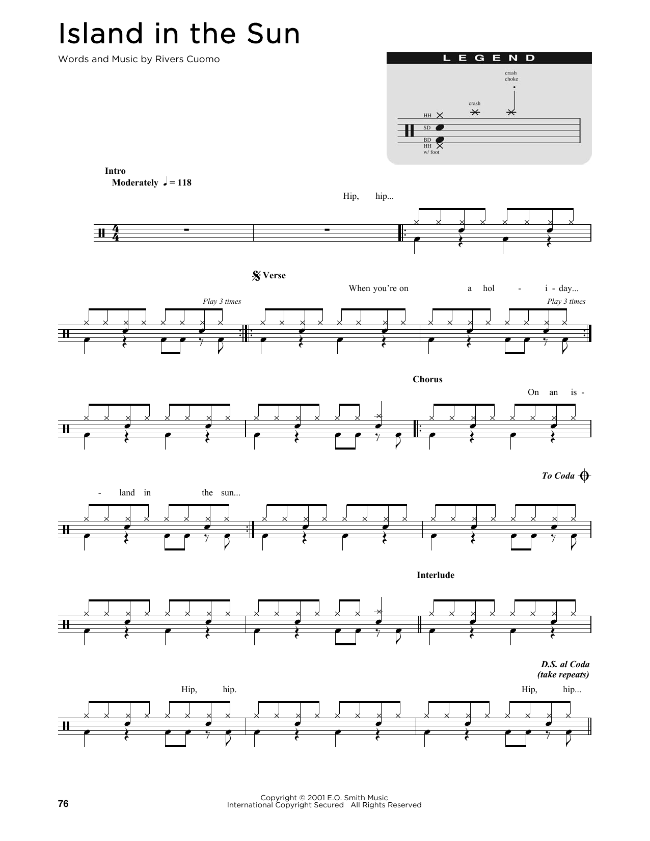 Weezer Island In The Sun sheet music preview music notes and score for Drums Transcription including 1 page(s)