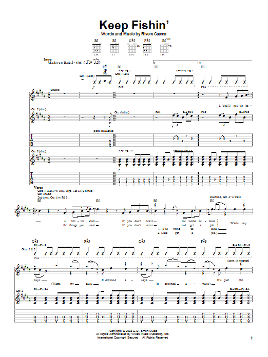 Weezer Keep Fishin' sheet music preview music notes and score for Guitar Tab including 4 page(s)
