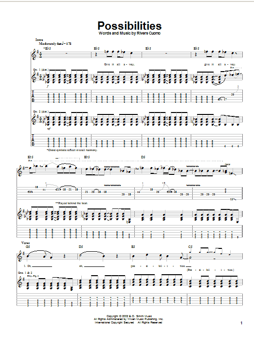 Weezer Possibilities sheet music preview music notes and score for Guitar Tab including 5 page(s)