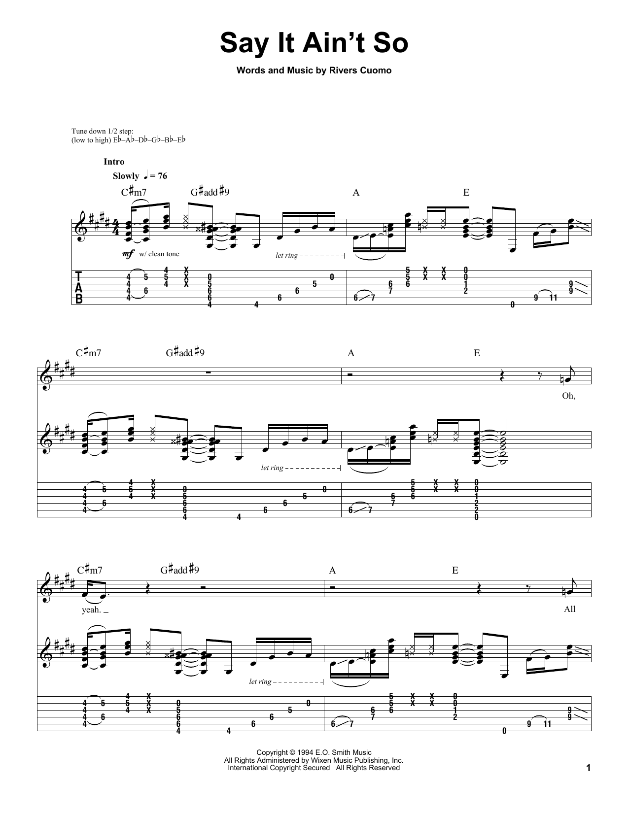 Weezer Say It Ain't So sheet music preview music notes and score for Easy Guitar Tab including 5 page(s)