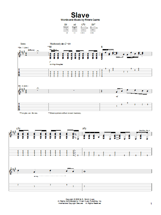 Weezer Slave sheet music preview music notes and score for Guitar Tab including 5 page(s)