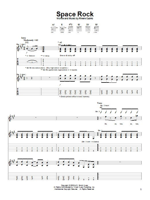 Weezer Space Rock sheet music notes and chords
