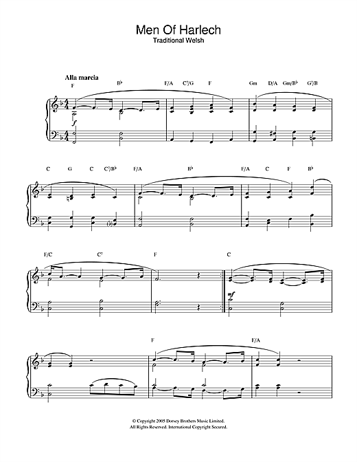 Download Welsh Folksong 'Men Of Harlech' Digital Sheet Music Notes & Chords and start playing in minutes