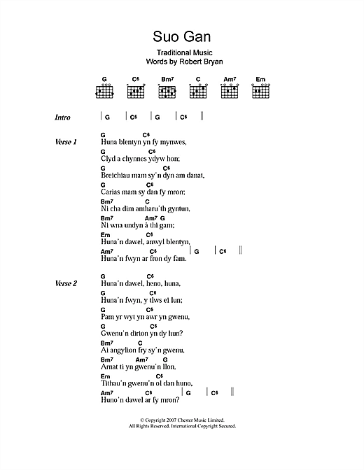 Welsh Folksong Suo Gan sheet music notes and chords