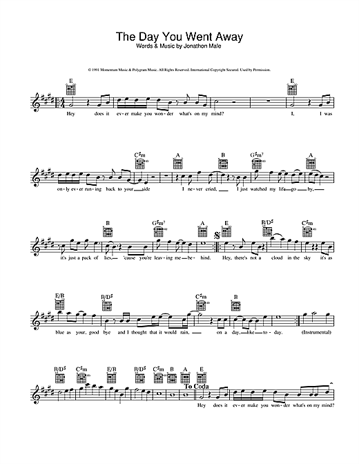 Wendy Mathews The Day You Went Away sheet music preview music notes and score for Melody Line, Lyrics & Chords including 2 page(s)