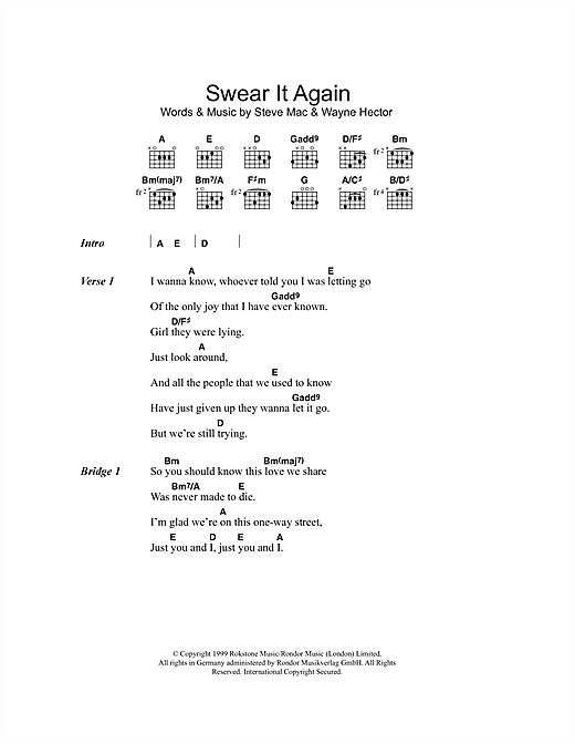 Westlife Swear It Again sheet music notes and chords