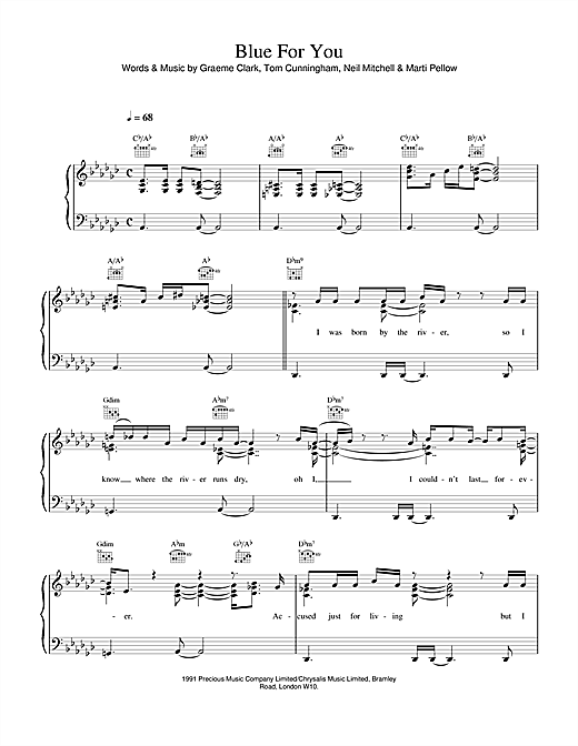 Wet Wet Wet Blue For You sheet music notes and chords