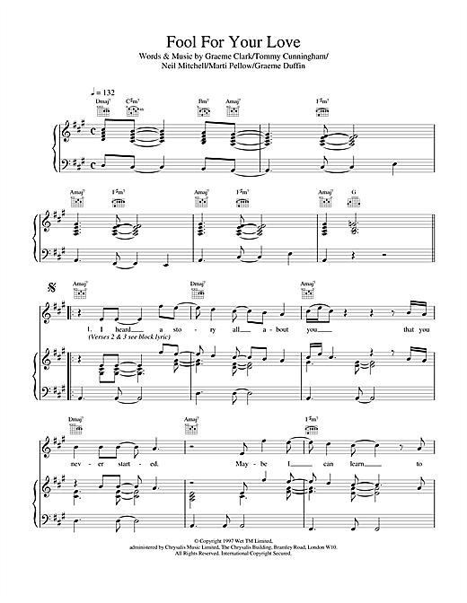 Wet Wet Wet Fool For Your Love sheet music notes and chords