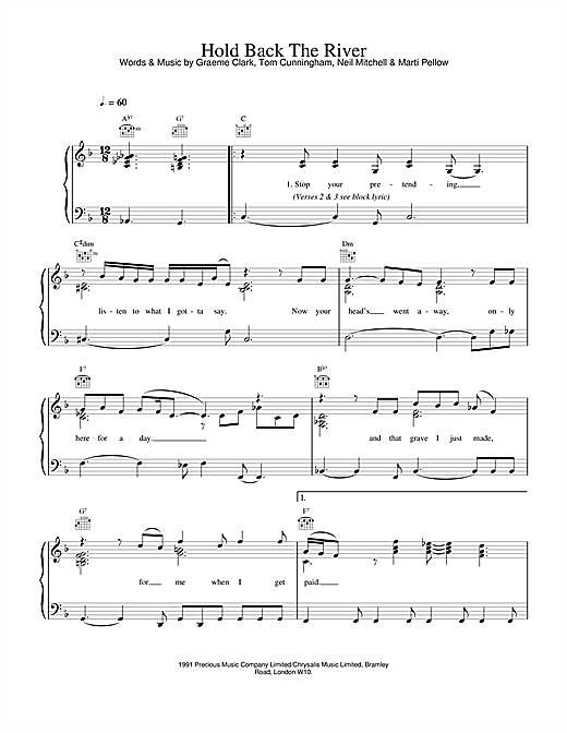 Wet Wet Wet Hold Back The River sheet music notes and chords