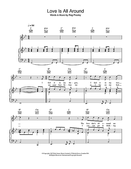 Download Wet Wet Wet 'Love Is All Around' Digital Sheet Music Notes & Chords and start playing in minutes