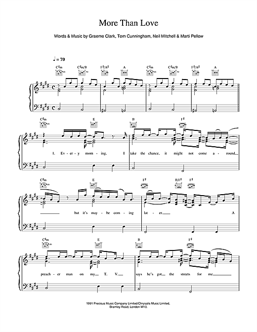 Wet Wet Wet More Than Love sheet music notes and chords