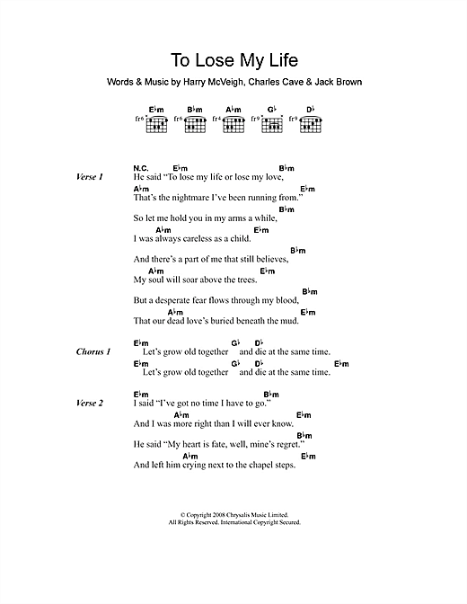White Lies To Lose My Life sheet music notes and chords
