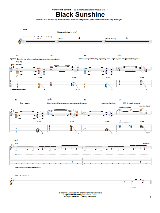 White Zombie Black Sunshine sheet music preview music notes and score for Guitar Tab including 8 page(s)