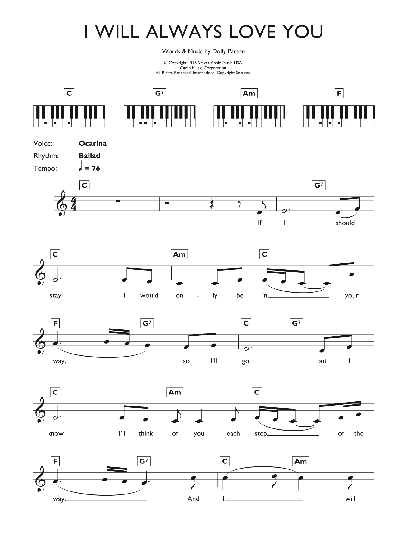Whitney Houston I Will Always Love You sheet music preview music notes and score for E-Z Play Today including 2 page(s)