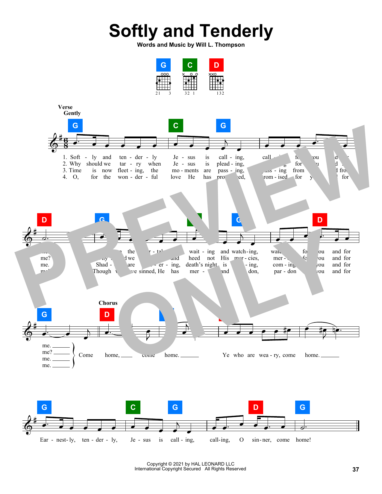 Will L. Thompson Softly And Tenderly sheet music preview music notes and score for Easy Piano including 2 page(s)