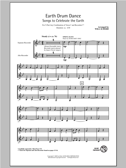 Download Will Schmid 'Earth Drum Dance' Digital Sheet Music Notes & Chords and start playing in minutes