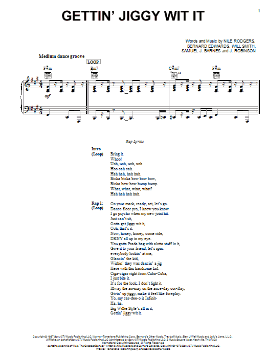 Download Will Smith 'Gettin' Jiggy Wit It' Digital Sheet Music Notes & Chords and start playing in minutes