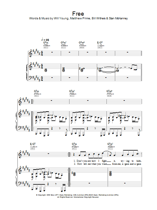 Will Young Free sheet music preview music notes and score for Piano, Vocal & Guitar including 5 page(s)