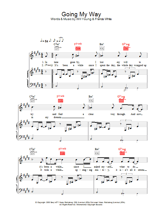 Will Young Going My Way sheet music preview music notes and score for Piano, Vocal & Guitar including 6 page(s)